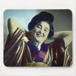 Laughing Japanese Girl Vintage Mouse Pad