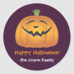 Laughing jolly pumpkin custom Halloween gift tag Round Stickers