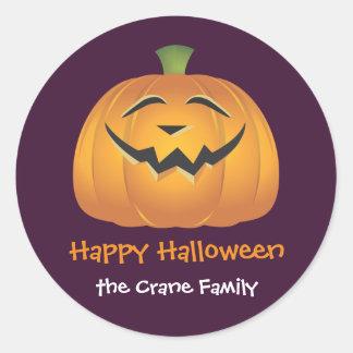 Laughing jolly pumpkin custom Halloween gift tag Classic Round Sticker