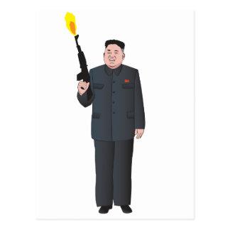 Laughing Kim Jong-un firing a gun into the air Postcard