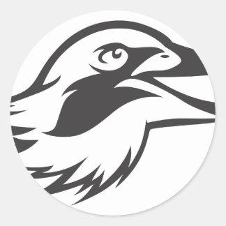 Laughing Kookaburra Bird in Black and White Classic Round Sticker