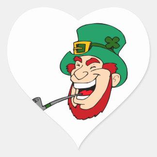 Laughing Leprechaun Heart Sticker