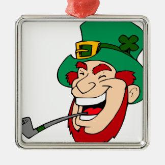 Laughing leprechaun metal ornament