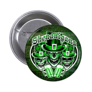 Laughing Leprechaun Skulls: Shenanigans 3 Pinback Button