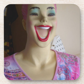 laughing mannequin drink coasters