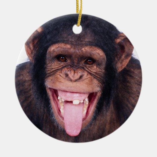 Laughing Monkey Ceramic Ornament