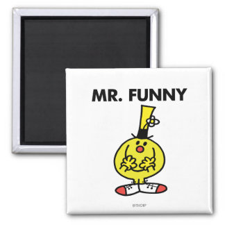 Laughing Mr. Funny With Flower 2 Inch Square Magnet