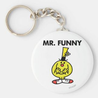 Laughing Mr. Funny With Flower Basic Round Button Keychain