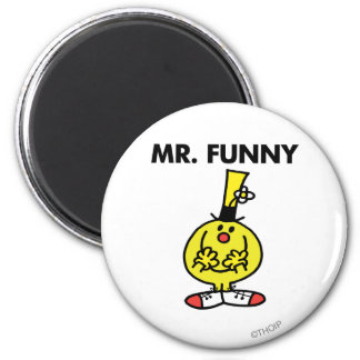 Laughing Mr. Funny With Flower 2 Inch Round Magnet