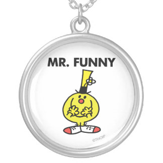 Laughing Mr. Funny With Flower Round Pendant Necklace