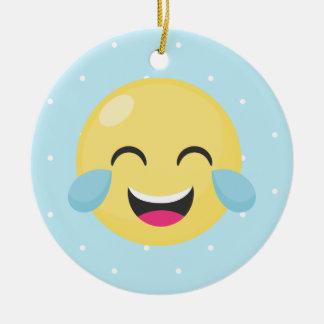 Laughing Out Loud Emoji Dots Ceramic Ornament