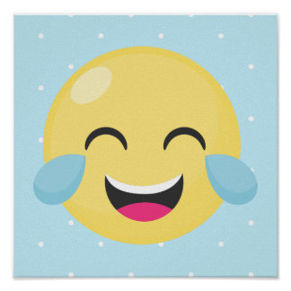 Laughing Out Loud Emoji Dots Poster