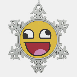 laughing out loud emoji snowflake pewter christmas ornament