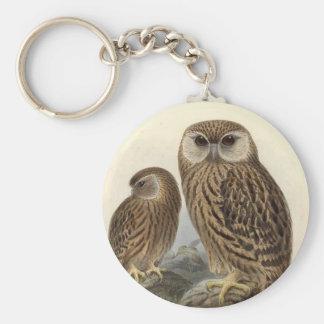 Laughing Owl Vintage Illustration Basic Round Button Keychain