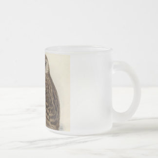 Laughing Owl Vintage Illustration Frosted Glass Coffee Mug