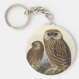 Laughing Owl Vintage Illustration Keychain