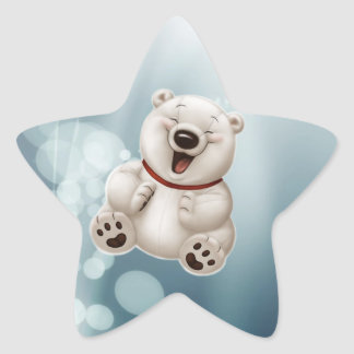 Laughing polar teddy-bear star sticker