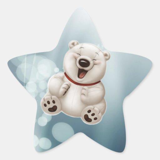 Laughing polar teddy-bear stickers