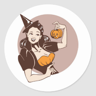 laughing pretty girl in witch costume  with pumpki classic round sticker
