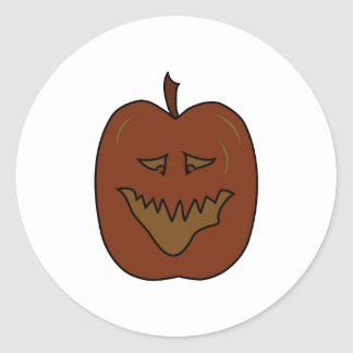 Laughing Pumpkin Cartoon. Dark Colors. Classic Round Sticker