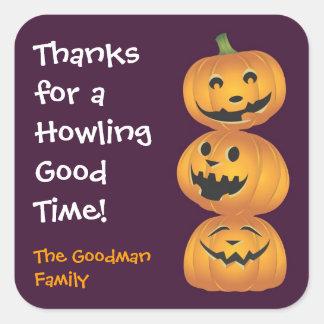 Laughing pumpkins fun cute Halloween favor tag Square Sticker
