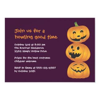 Laughing pumpkins fun cute Halloween invitation