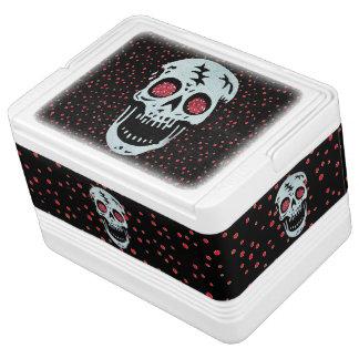 Laughing Red Glitter Eye Skull Cooler