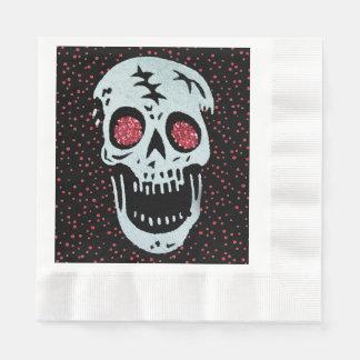 Laughing Red Glitter Eye Skull Coined Luncheon Napkin