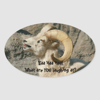 Laughing Rocky Mountain Bighorn Sheep Oval Sticker