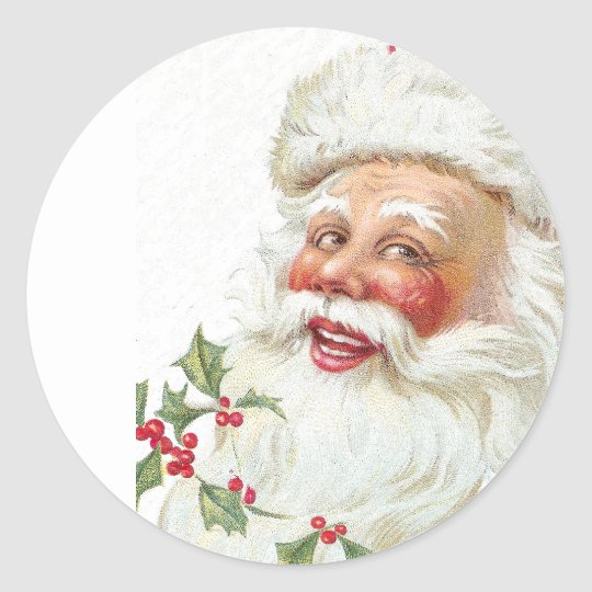 Laughing Santa Claus Vintage 1912 Xmas Classic Round Sticker