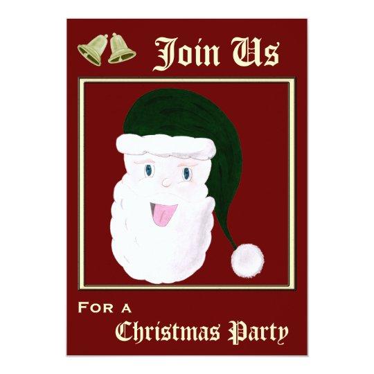 Laughing Santa Invitations (Green)