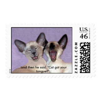 Laughing Siamese Cats Postage Stamp