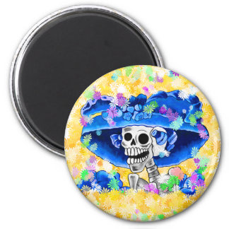 Laughing Skeleton Woman in Blue Bonnet 2 Inch Round Magnet