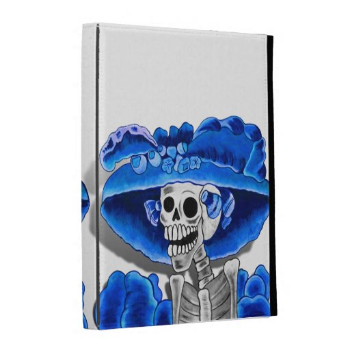 Laughing Skeleton Woman in Blue Bonnet iPad Case