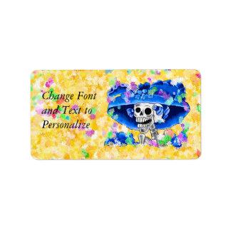 Laughing Skeleton Woman in Blue Bonnet Label