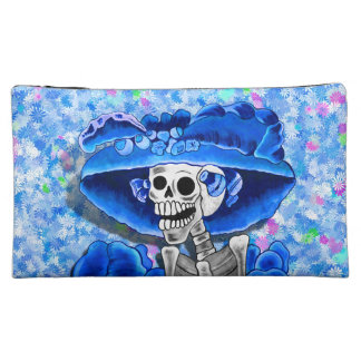 Laughing Skeleton Woman in Blue Bonnet on Blue Cosmetic Bag