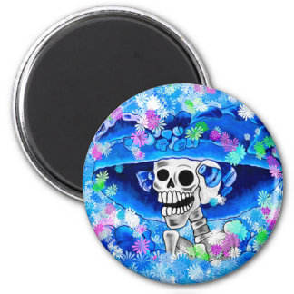 Laughing Skeleton Woman in Blue Bonnet on Blue 2 Inch Round Magnet