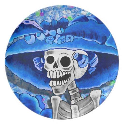 Laughing Skeleton Woman in Blue Bonnet on Blue Dinner Plate