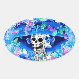 Laughing Skeleton Woman in Blue Bonnet on Blue Oval Sticker