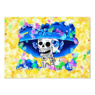 Laughing Skeleton Woman in Blue Bonnet on Yellow Card