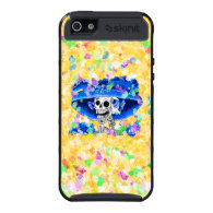 Laughing Skeleton Woman in Blue Bonnet on Yellow iPhone 5 Case