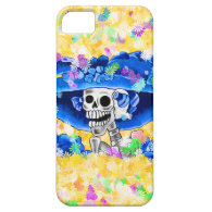 Laughing Skeleton Woman in Blue Bonnet on Yellow iPhone 5 Covers