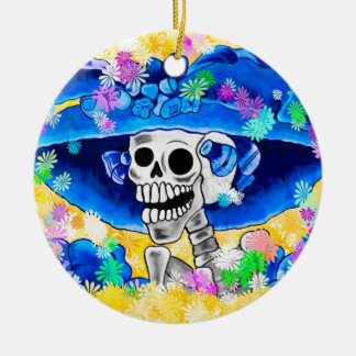 Laughing Skeleton Woman in Blue Bonnet on Yellow Ornament