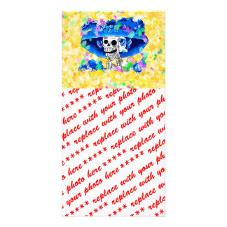Laughing Skeleton Woman in Blue Bonnet on Yellow Photo Cards