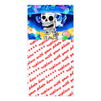 Laughing Skeleton Woman in Blue Bonnet on Yellow Personalized Photo Card