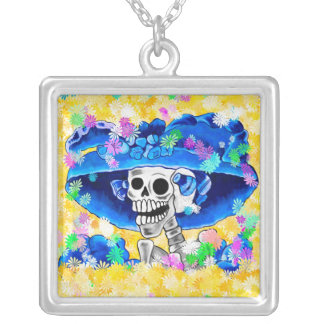 Laughing Skeleton Woman in Blue Bonnet on Yellow Square Pendant Necklace