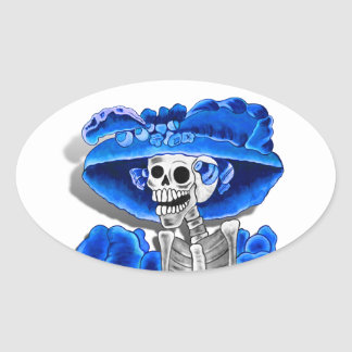 Laughing Skeleton Woman in Blue Bonnet Oval Sticker