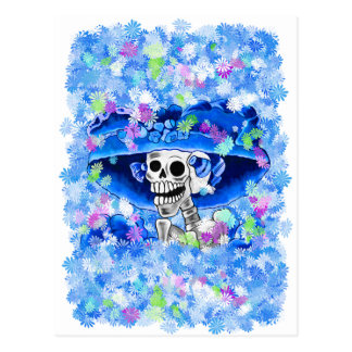Laughing Skeleton Woman in Blue Bonnet Postcard