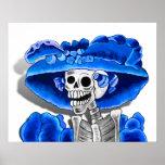 Laughing Skeleton Woman in Blue Bonnet Poster