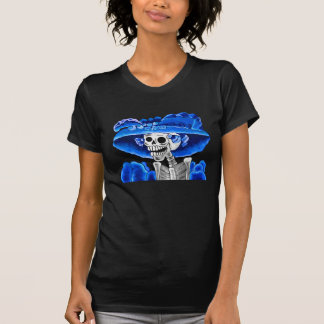 Laughing Skeleton Woman in Blue Bonnet T-shirts